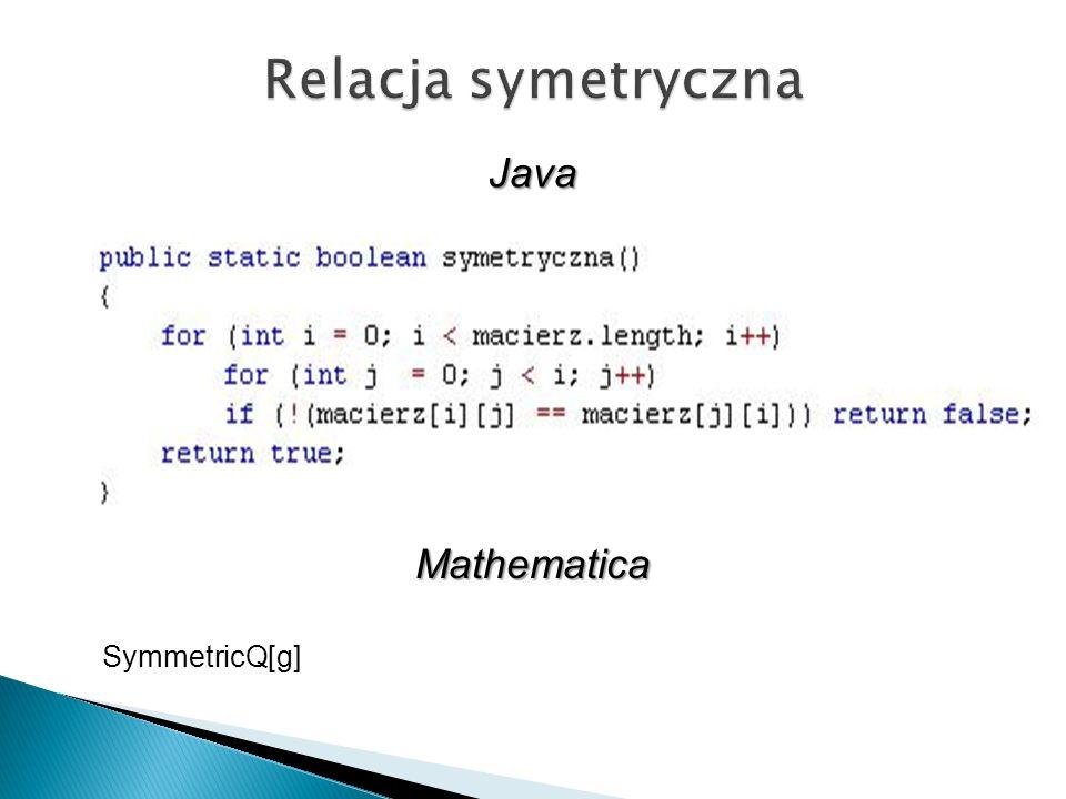 Relacja symetryczna Java Mathematica SymmetricQ[g]
